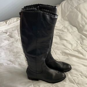 Jack Rogers Lisbeth Black Leather Riding Boots